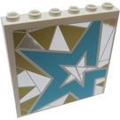 LEGO blanc Panneau 1 x 6 x 5 avec Light Blue Star sur Silver et Gold Background Droite From set 41106 Autocollant