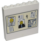 LEGO White Panel 1 x 6 x 5 with Sticker from Set 7744