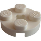 LEGO White Plate 2 x 2 Round with Axle Hole (with '+' Axle Hole) (4032)