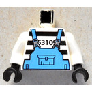 LEGO White Prisoner Torso with Black Stripes and Medium Blue Overall with White Arms and Black Hands