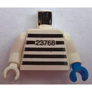 LEGO White Prisoner Torso with Black Strips and 23768 Pattern with White Arms, Blue Left Hand, White Right Hand
