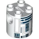 LEGO White R2-D2 Brick Round 2 x 2 x 2 with Bottom Axle Holder 'x' Shape '+' Orientation (15797)