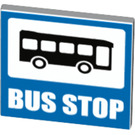 LEGO White Roadsign Clip-on 2 x 2 Square with Blue Bus Stop Decoration with Open 'O' Clip (27098)