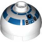LEGO White Round Brick 2 x 2 Dome Top (Undetermined Stud) with Silver and Blue Pattern (R2-D2) (83715)