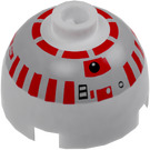 LEGO White Round Brick 2 x 2 Dome Top with Silver and Red R5-D4 Printing (83730)