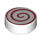 LEGO White Round Tile 1 x 1 with Red Swirl (14184)