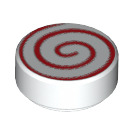 LEGO Round Tile 1 x 1 with Red Swirl Lollipop Pattern (14184)