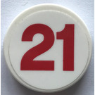 "LEGO White Round Tile 2 x 2 with ""21"" Sticker"