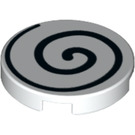 LEGO White Round Tile 2 x 2 with Black Spiral with Bottom Stud Holder (37006)