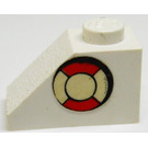 LEGO White Slope 1 x 2 (45°) with Sticker from Set 373 without Centre Stud