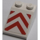 LEGO White Slope 2 x 3 (25°) with Red/White Danger Stripes Sticker with Rough Surface