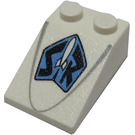 LEGO White Slope 2 x 3 (25°) with Space Rangers Logo with Rough Surface (89525)