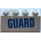 """LEGO White Slope 2 x 4 (45°) with """"GUARD"""" Sticker with Rough Surface"""