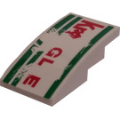 LEGO White Slope 2 x 4 Curved with Kragle Sticker