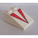 LEGO White Slope 25° (33) 2 x 3 with Red Triangles with Rough Surface