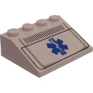 LEGO White Slope 3 x 4 (25°) with EMT Star of Life Grille