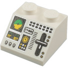LEGO White Slope 45° 2 x 2 with Gauges, Switches and Control Lever Design (11736 / 55068)
