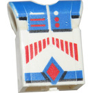 LEGO White Technic Action Figure Body Part with Red Stripes and Blue Pattern