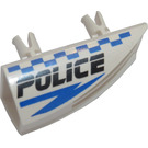 LEGO White Technic Side Flaring Intake 1 x 4 with Two Pins with Blue Checkered Police Logo - Right