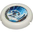 LEGO White Throwing Disk with Ice, 3 Pips, Ski Logo