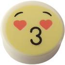 LEGO White Tile 1 x 1 Round with Kiss Emoji