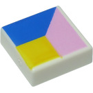 LEGO White Tile 1 x 1 with Blue, Yellow and Pink with Groove