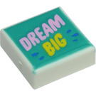 LEGO White Tile 1 x 1 with DREAM BIG with Groove