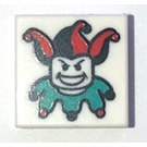 LEGO White Tile 1 x 1 with Jester with Groove