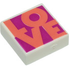LEGO White Tile 1 x 1 with LOVE with Groove