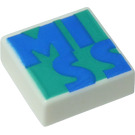 LEGO White Tile 1 x 1 with MISS with Groove