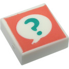 LEGO White Tile 1 x 1 with Question Mark with Groove
