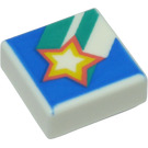 LEGO White Tile 1 x 1 with Star with Groove