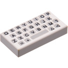 LEGO White Tile 1 x 2 with Keyboard with Groove (50311)