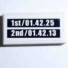 LEGO White Tile 1 x 2 with Lap Times pattern Sticker with Groove