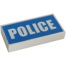 LEGO White Tile 1 x 2 with Police (Preprinted) with Groove (93073)