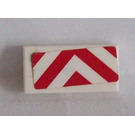LEGO White Tile 1 x 2 with Red and White Danger Stripes Sticker with Groove