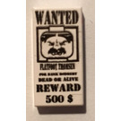 LEGO White Tile 1 x 2 with Wanted Poster with Groove