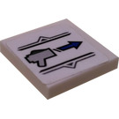 LEGO White Tile 2 x 2 Inverted with Triggered Gun and Arrow Sticker