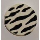 """LEGO White Tile 2 x 2 Round with Decoration with """"X"""" Bottom"""