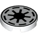 LEGO White Tile 2 x 2 Round with Galactic Republic with Normal Bottom (42132)