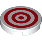 LEGO White Tile 2 x 2 Round with Red Concentric Circles with Bottom Stud Holder (33512)