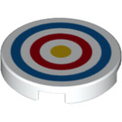LEGO White Tile 2 x 2 Round with Shooting Target with Bottom Stud Holder (25414)