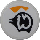 """LEGO White Tile 2 x 2 Round with White Pattern on Black Symbol and Orange Triangles (Right) Sticker with """"X"""" Bottom"""