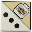 LEGO White Tile 2 x 2 with 3 Black Dots and Mummy Head Decoration with Groove (87602)