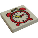 LEGO White Tile 2 x 2 with Alarm Clock with Groove