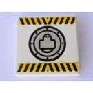 LEGO White Tile 2 x 2 with Black and Yellow Danger Stripes and Round Hatch with Groove