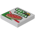 LEGO White Tile 2 x 2 with 'CITY PIZZA' Decoration (Sticker) from Set 60150