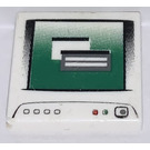 LEGO White Tile 2 x 2 with Computer Screen and Gray Power Icon with Groove (47369)