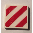 LEGO White Tile 2 x 2 with Danger Stripes Sticker with Groove