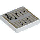 LEGO White Tile 2 x 2 with Decoration with Groove (66586)